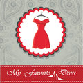 Label with little red dress.Paisley lace background