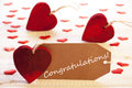 Label With Many Red Heart, Text Congratulations