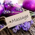 Label, massage Stock Photo