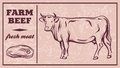 Label of meat products. Beef
