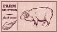 Label of meat products. Mutton