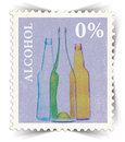 Label for non alcoholic drinks advertisements stylized as post stamp vintage portrait view Royalty Free Stock Image