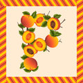 Label peaches making letter scalable vectorial image representing a p Stock Photos