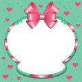 Label with a pink bow and hearts green background Stock Photography