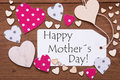 Label, Pink Hearts, Text Happy Mothers Day