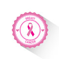 Label Pink Ribbon Breast Cancer Awareness Stamp Royalty Free Stock Photo