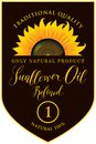 Label for refined sunflower oil with inscription