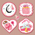 Label set with items for european newborn baby girl a of cute cartoon cartoon icons scrapbooking elements strips background Stock Photos