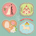Label set with wedding elements a of labels the items for invitations sitagita template in retro style Royalty Free Stock Photo