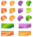 Label stickers a set of blank labels in four colors Royalty Free Stock Images