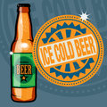 Label with the text ice cold beer abstract stamp or bottle and written inside Royalty Free Stock Photo