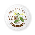Label with type design and vanilla plant