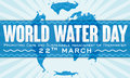 Label with Watery Map Design to Commemorate World Water Day, Vector Illustration