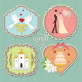 Label with wedding elements a set of labels the items for invitations sitagita template in retro style Stock Images