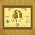 Label for wine with winery sack vintage Stock Photo