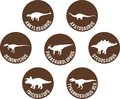 Labeled Dinosaur Round Icon Set Brown