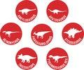Labeled Dinosaur Round Icon Set Red