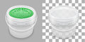 Labeled transparent empty plastic bucket for storage. Vector packaging mockup