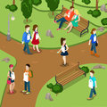 Labeling people call names gossip concept people in park labels hanging on neck flat d isometry isometric style web site app icon Royalty Free Stock Photos