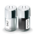 Labelled salt and pepper shakers isolated on white Stock Photography