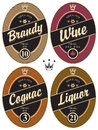 Labels for alcoholic set of retro various beverages Stock Photos