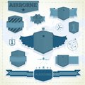 Labels and badges set of airborne vintage in blue color Royalty Free Stock Photos