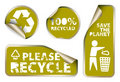 Labels badges and stickers with recycle icons Royalty Free Stock Photo