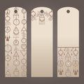 Labels for clothes in boho style. Three vector sticker. Set beige brown labels for garment.