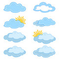 Labels, clouds and sun Royalty Free Stock Photography