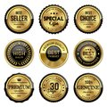 Labels gold premium quality set on white background