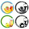 Labels with juice in glass and fruits Royalty Free Stock Image