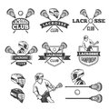 Labels of lacrosse club. Vector monochrome pictures set