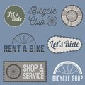 Labels, logo, signs, symbols for bicycle company Royalty Free Stock Photo