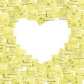 Labels post-it frame, heart shaped. Stock Photo