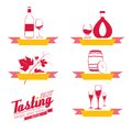Labels set of drinks for restaurant and cafe vector illustration Stock Photography