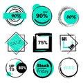 Labels set sale, mega discounts, black Friday, 10%, 25%, 50%, 70%, 80%, 90%