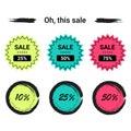 Labels set sale, mega discounts, black Friday, 10%, 25%, 50%, 70%, 80%, 90%.