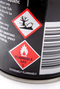 Labels on side of aerosol can Royalty Free Stock Images