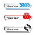 Labels stickers for virtual tour illustration Stock Image