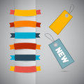 Labels tags ribbons set in retro colors on grey background Stock Photo