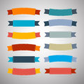 Labels tags ribbons set in retro colors isolated on grey background Stock Photos