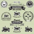 Labels with a tractor for livestock and crop set of vector Royalty Free Stock Image