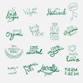 Labels with vegetarian and raw food diet designs.