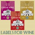 Labels for wine with grapes set of Royalty Free Stock Photography