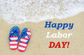 Labor day background on the beach Royalty Free Stock Photo