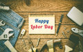 Labor day background concept - Jeans, many handy tools, notebook Royalty Free Stock Photo