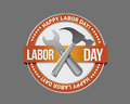 Labor day orange stamp seal and tools Royalty Free Stock Photo