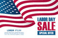 Labor Day Sale banner template with waving american national flag. Special offer holiday background for business.