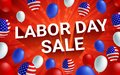 Labor day sale poster banner with American flag balloon.