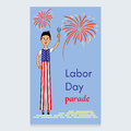Labor Day Vector Design. A man on stilts dressed in the colors of the American flag. A screwdriver is in his hands
